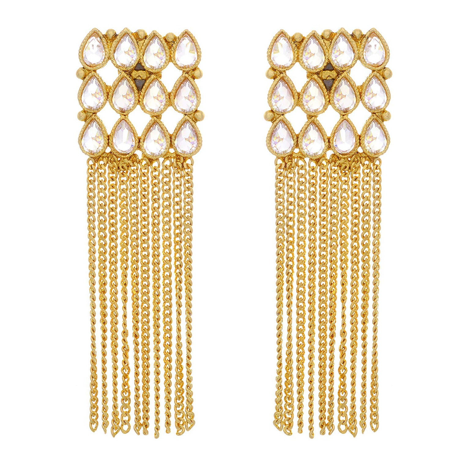 Jfl-Traditional Ethnic One Gram Gold Plated Polki Diamond Earrings For Women And Girls.