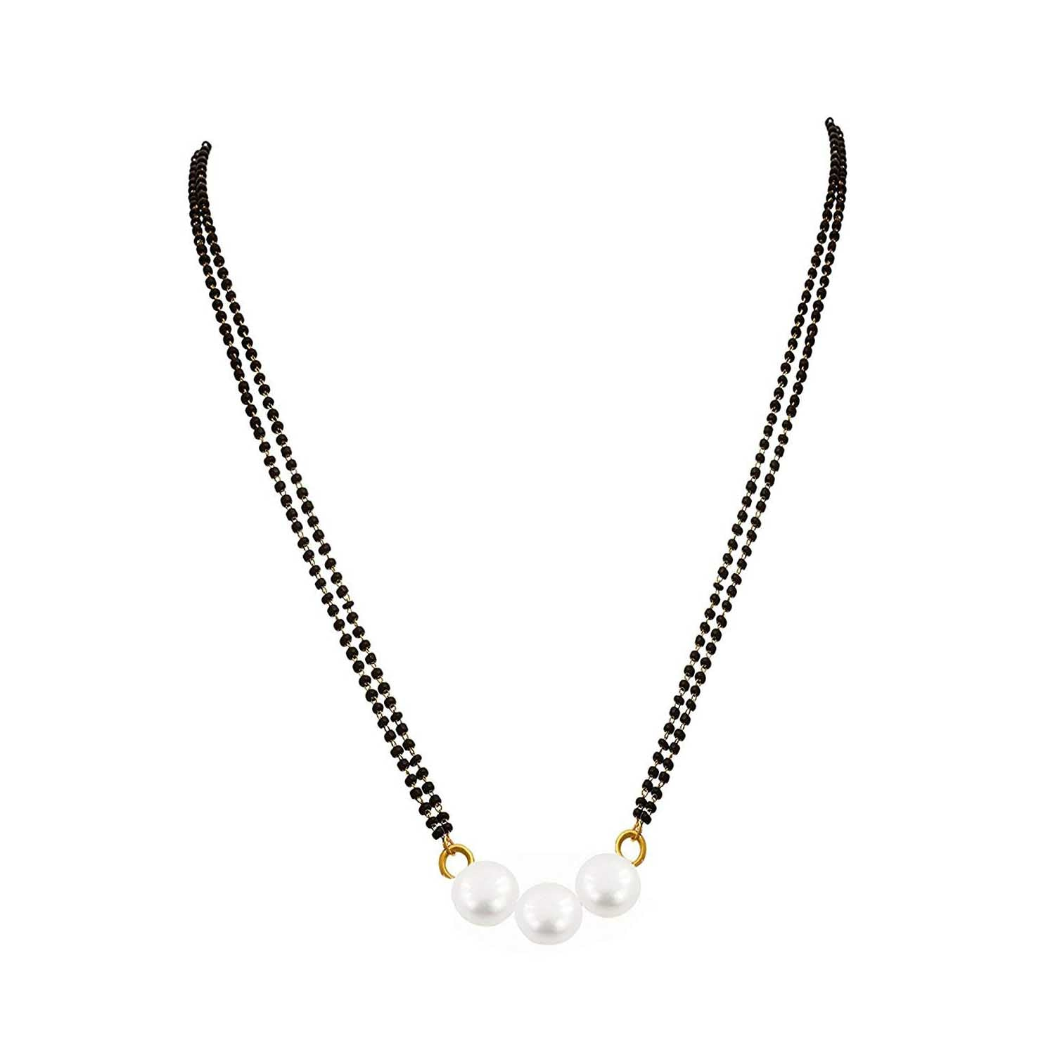 JFL Gold Plated Pearl Designer Mangalsutra with Black Bead Chain for Women (24-inch)