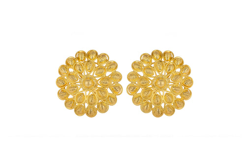 JFL - Jewellery for Less Ethnic Yellow Gold Plated Stud Earrings for Women & Girls.