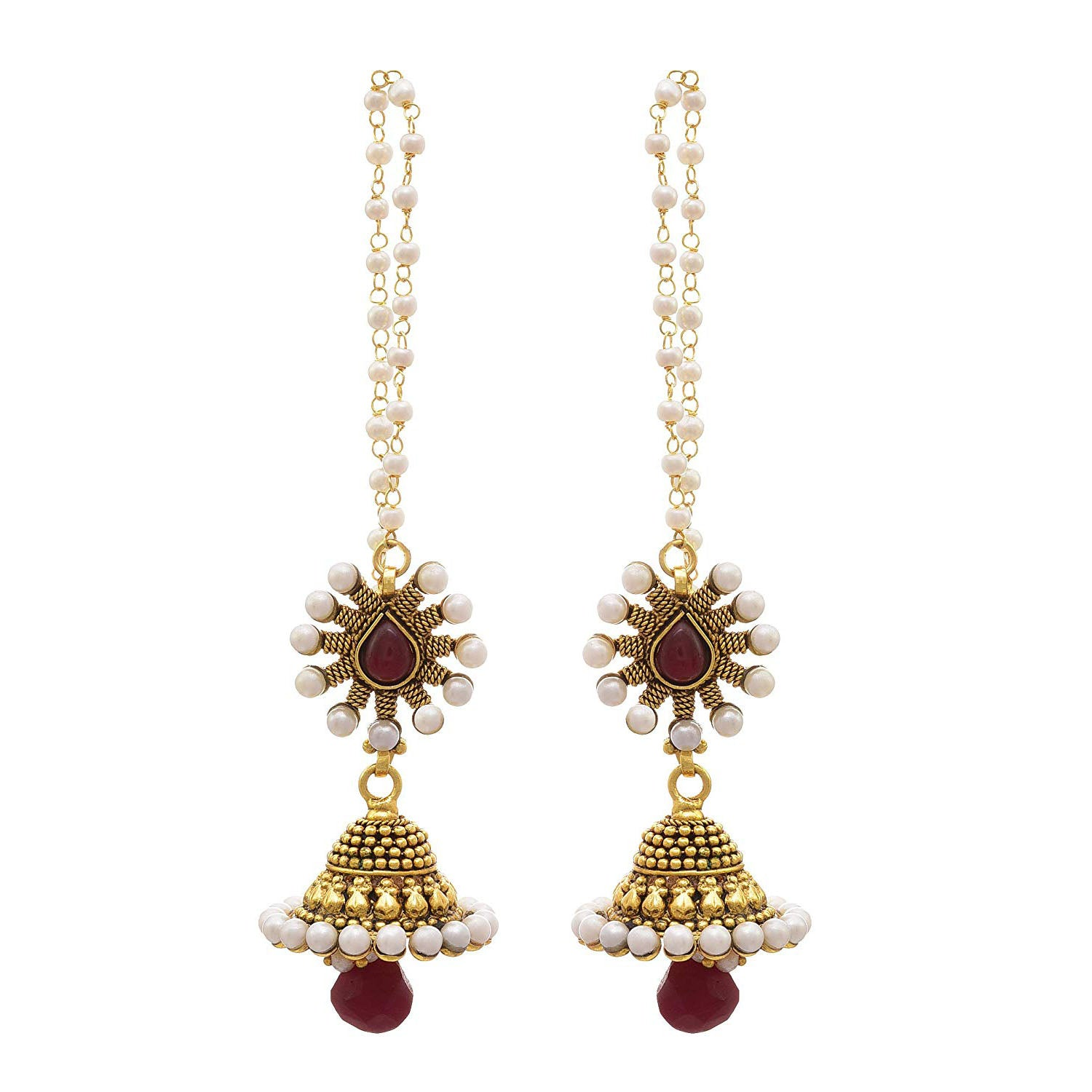 JFL - Traditional Ethnic One Gram Gold Plated Pearls Designer Jhumki Earrings for Women & Girls.