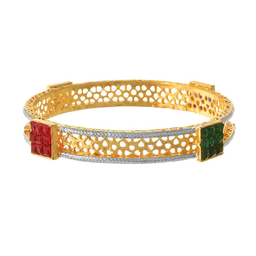 Traditional Ethnic One Gram Gold Plated Multi Colour Semi Precious Ruby Stone Designer Bangle Kada for Women & Girls.