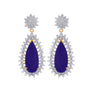JFL- Fusion Ethnic One Gram Gold Plated Cz American Diamond Blue Designer Earring for Women & Girls