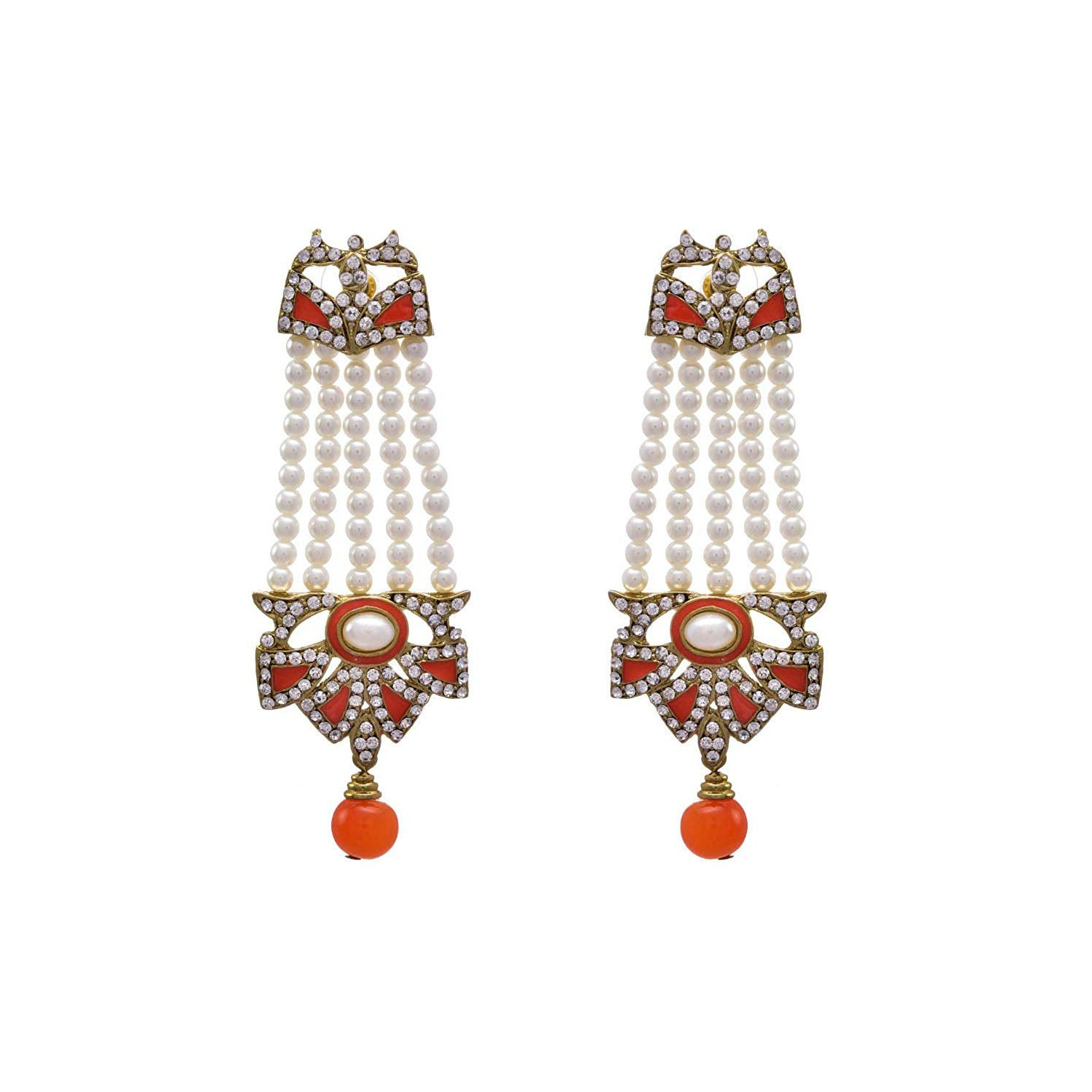JFL- Outstanding Designer Orange One Gram Gold Plated Diamond Earring embellished with Pearl for Women