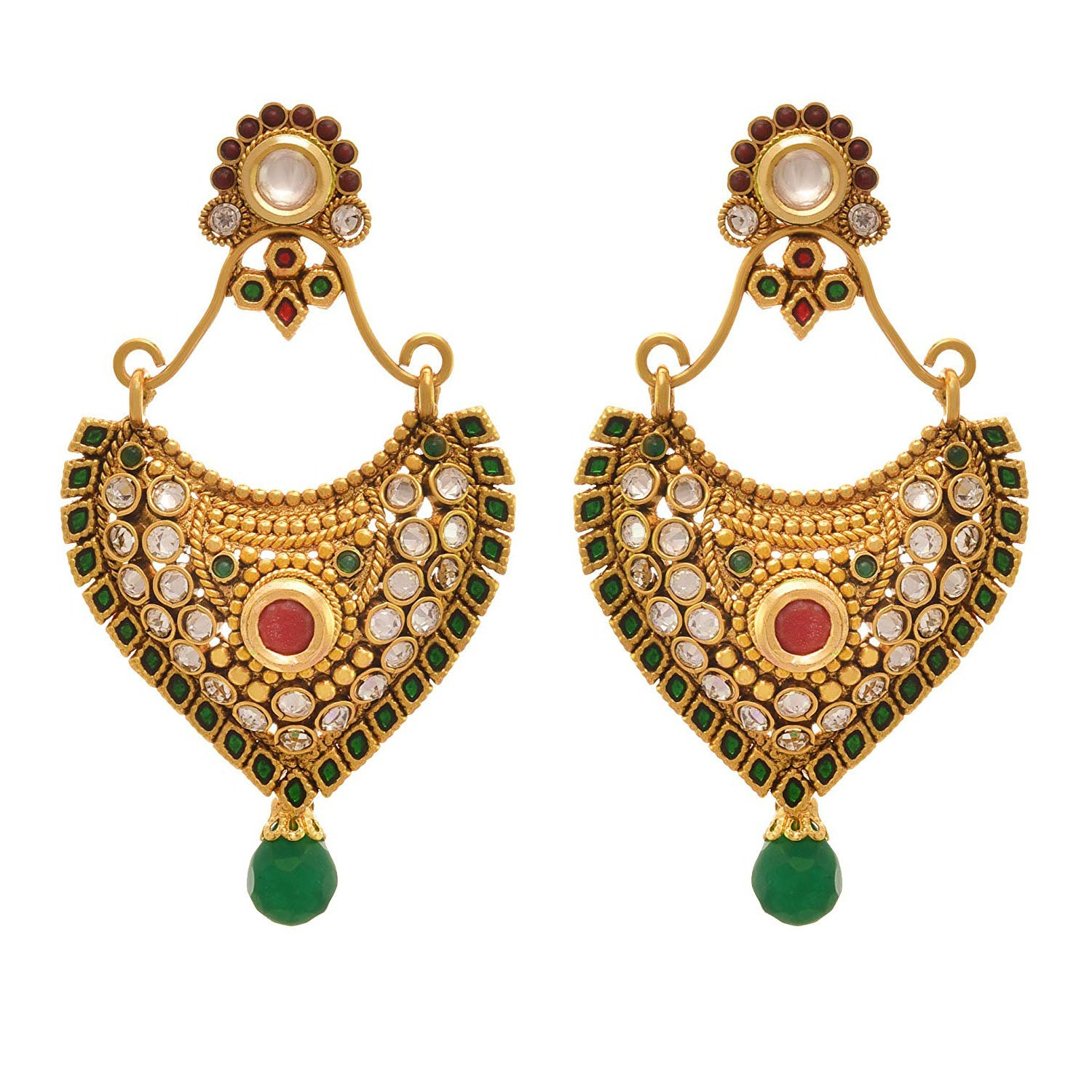 JFL - Jewellery for Less Traditional Ethnic One Gram Gold Plated Diamond Stone Kundan Designer Earring for Women & Girls