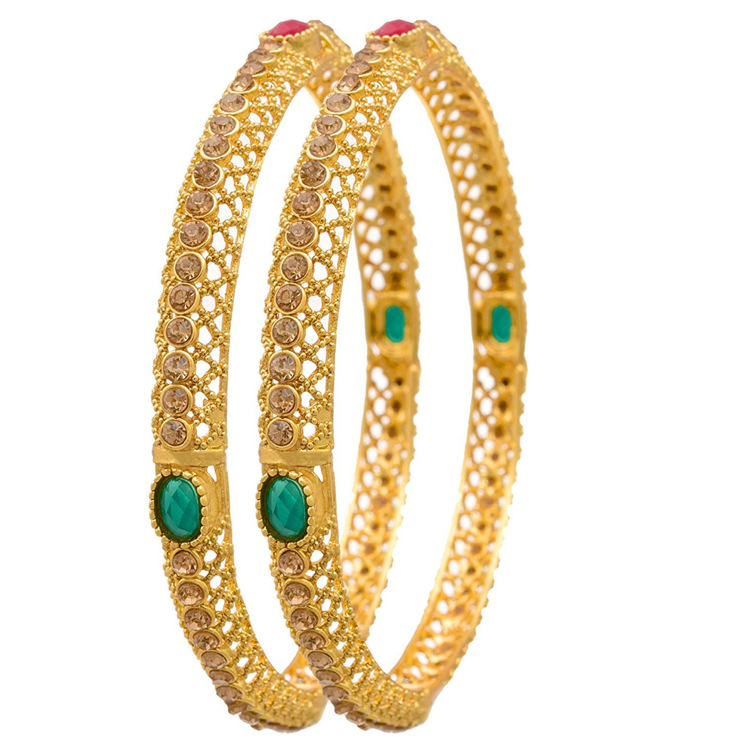 Jewellery for Less 1g Gold Plated Red Green Stone Bangle Set with Austrian Diamonds for Women (Champagne)