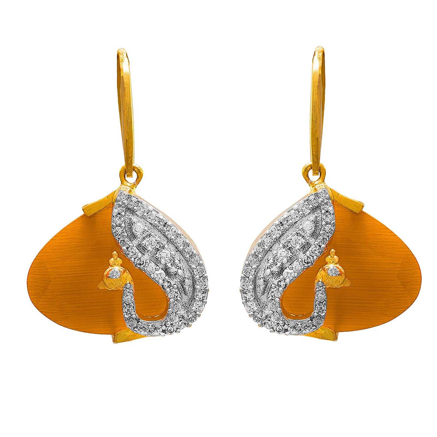 JFL - Jewellery for Less Fusion Ethnic One Gram Gold Plated Peacock Cz American Diamond Designer Earrings for Women and Girls. (Orange)