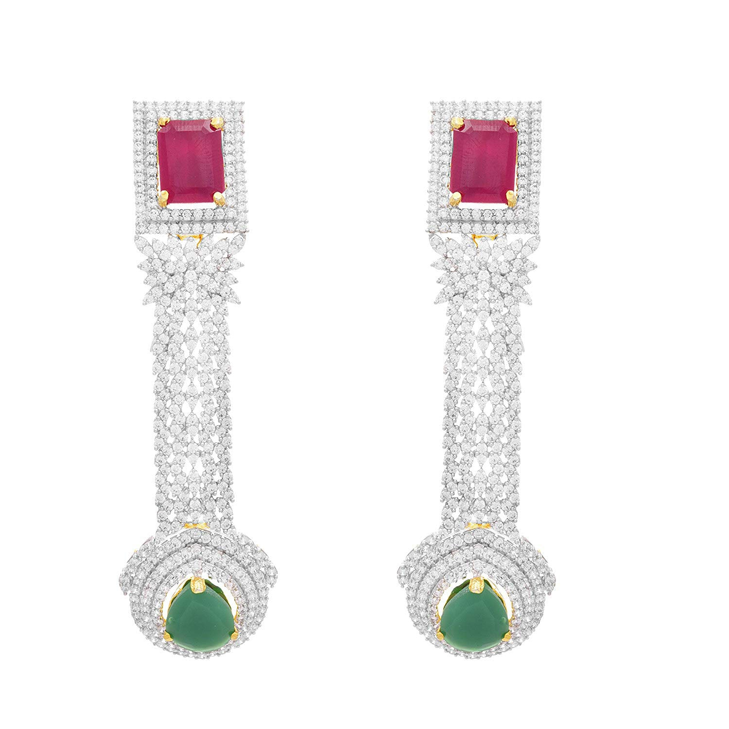 JFL- Fusion Ethnic One Gram Gold Plated Cz American Diamond Designer Earrings for Women and Girls.