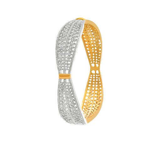 JFL-Traditional Ethnic One Gram Gold Plated American Diamond Designer Bangle for Girls & Women