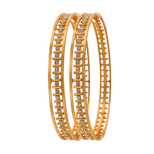 JFL-Traditional Ethnic One Gram Gold Plated Austrian Diamond Bangle Set Kada for Women and Girls.