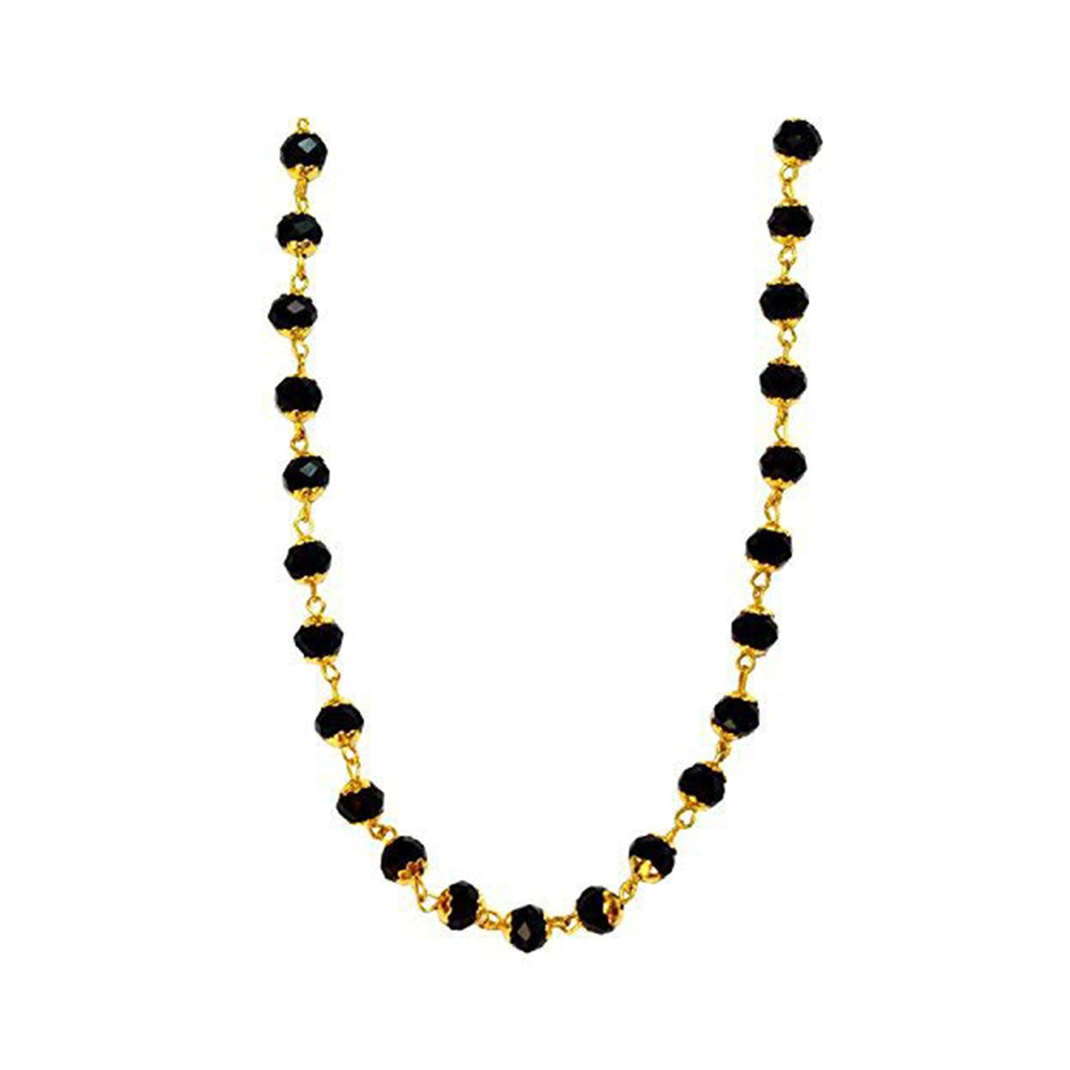 JFL -Black AD Crystal 24kt Gold Chain Yellow Gold