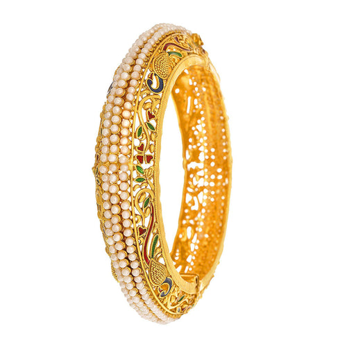 JFL- Traditional Ethnic Peacock One Gram Gold Plated Designer Bangles with Meenakari and Pearls - Openable Bangle for Women