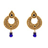 JFL - Traditional Ethnic One Gram Gold Plated Blue Designer Earrings for Women & Girls