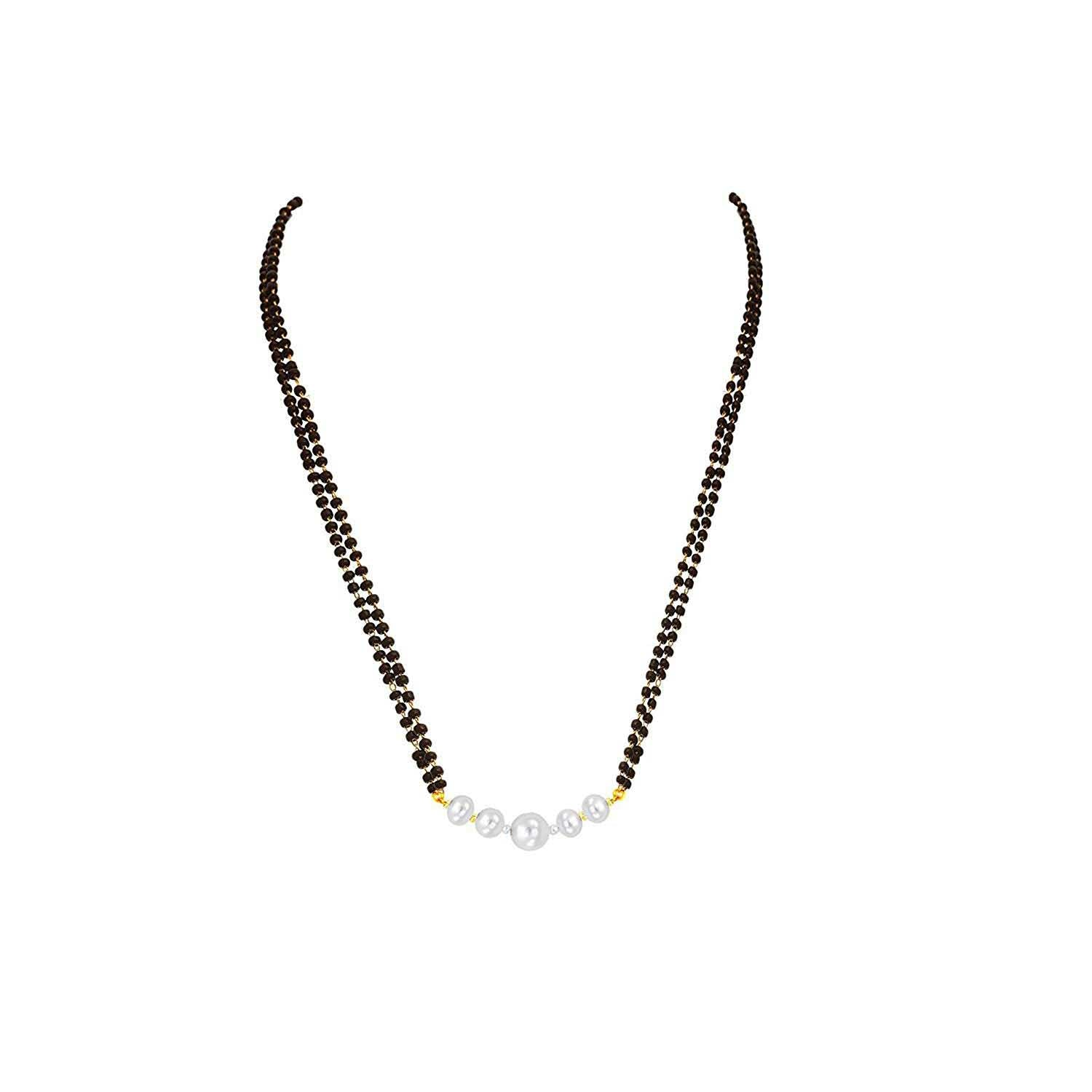 JFL White Gold Black Pearl Copper Mangalsutra For Women