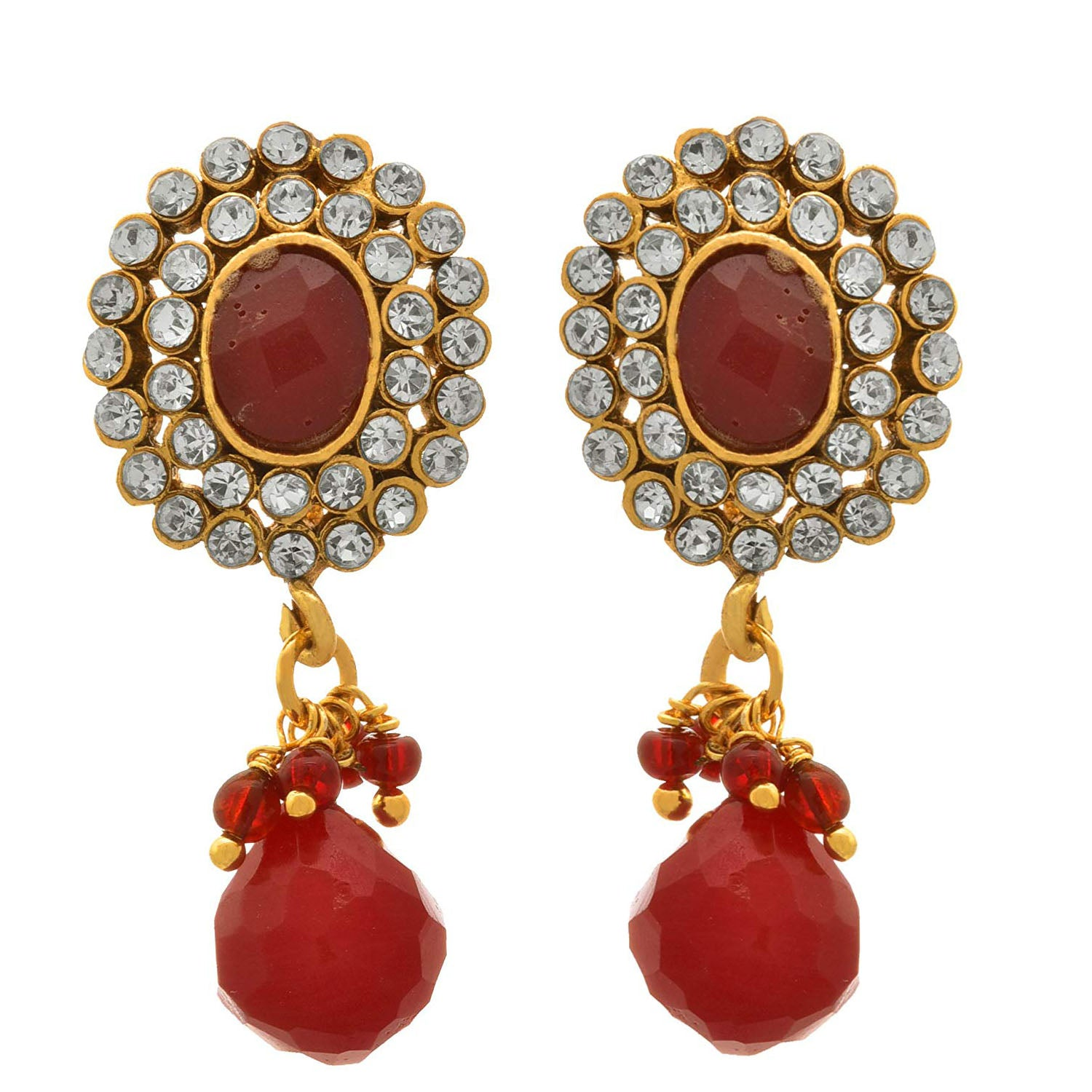 JFL - Jewellery for Less Traditional Ethnic One Gram Gold Plated Diamonds Designer Earring For Women & Girls
