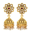 JFL - Wonderful Designer Red One Gram Gold Plated Jhumka Studded with Polki for Women & Girl