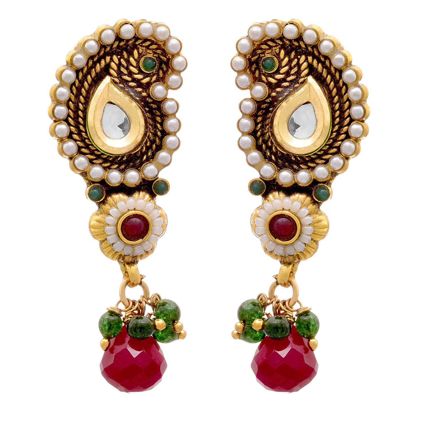 JFL - Fusion Ethnic One Gram Gold Plated Pearl & Kundan Designer Earring for Girls and Women.