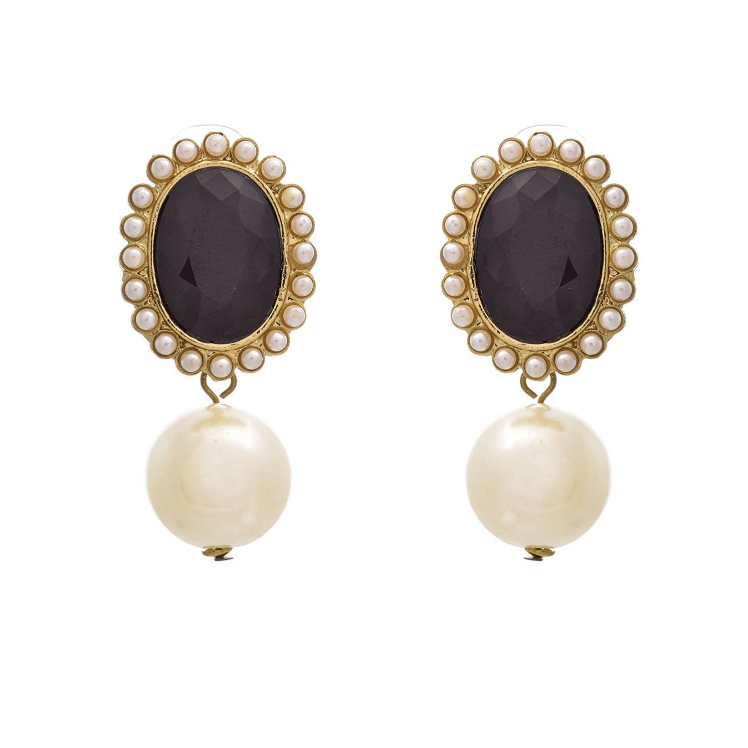 JFL - Fusion Ethnic One Gram Gold Plated Black Crystal Pearl Dangler Earrings surrounded with Pearls for Women & Girls