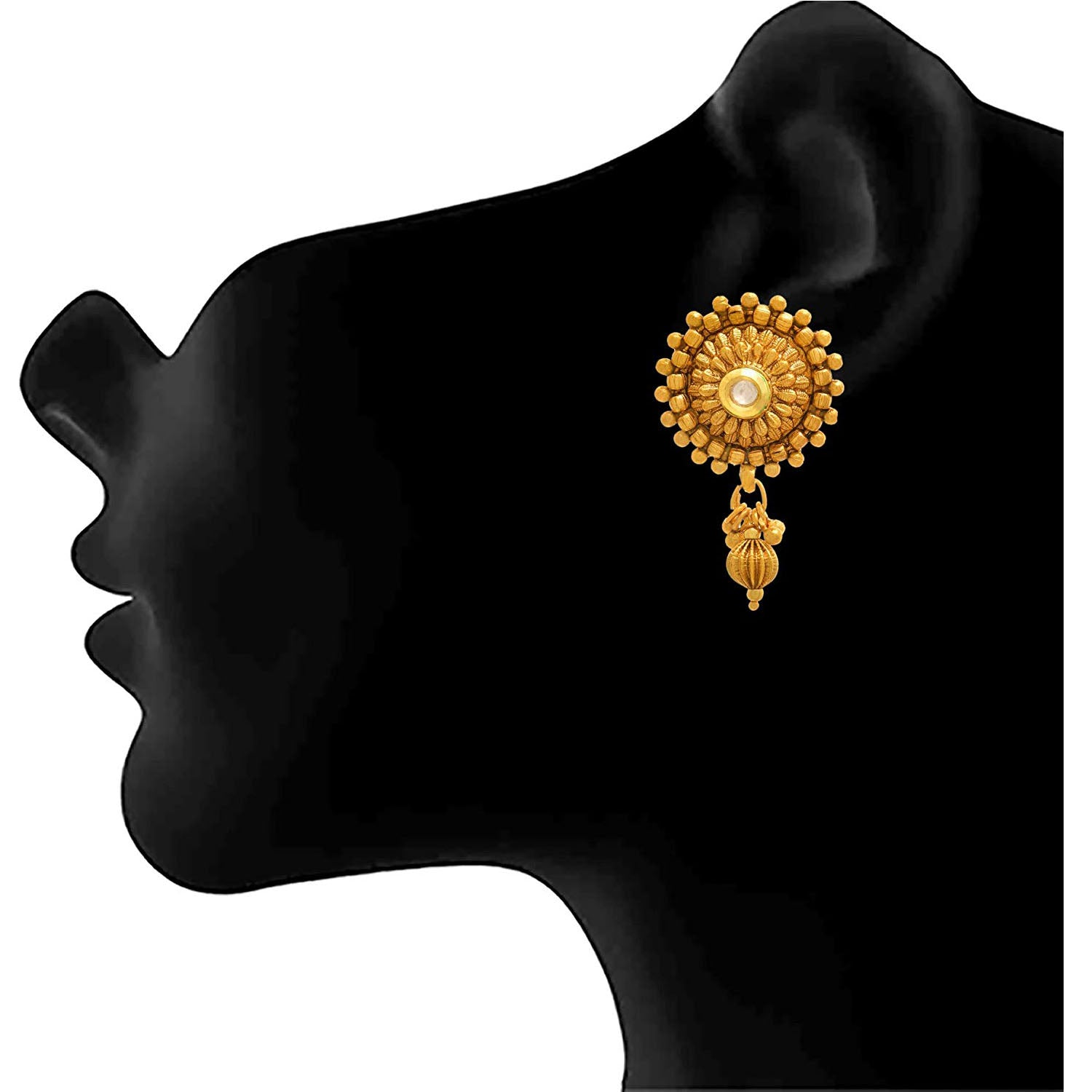 Jewellery for Less One Gram Gold Plated Kundan Designer Earring for Women & Girls