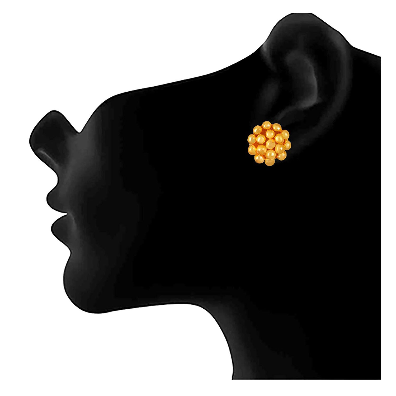 Traditional One Gram Gold Plated Bead With Stud Earrings For Women & Girls.