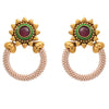 JFL - Traditional Ethnic One Grem Gold Plated Pearl Red & Green Designer Earring for Women & Girls
