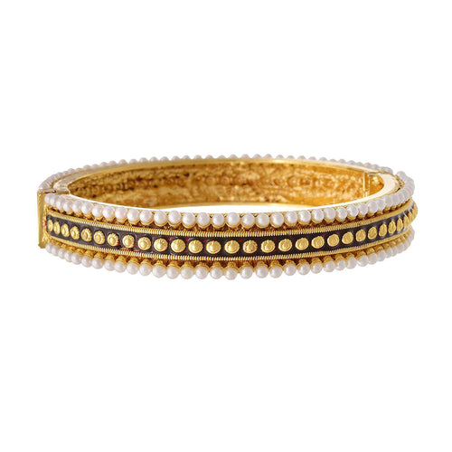 JFL - Traditional Ethnic One Gram Gold Plated Pearl & Red Meenakari Designer Openable Bangle Kada for Girls & Women