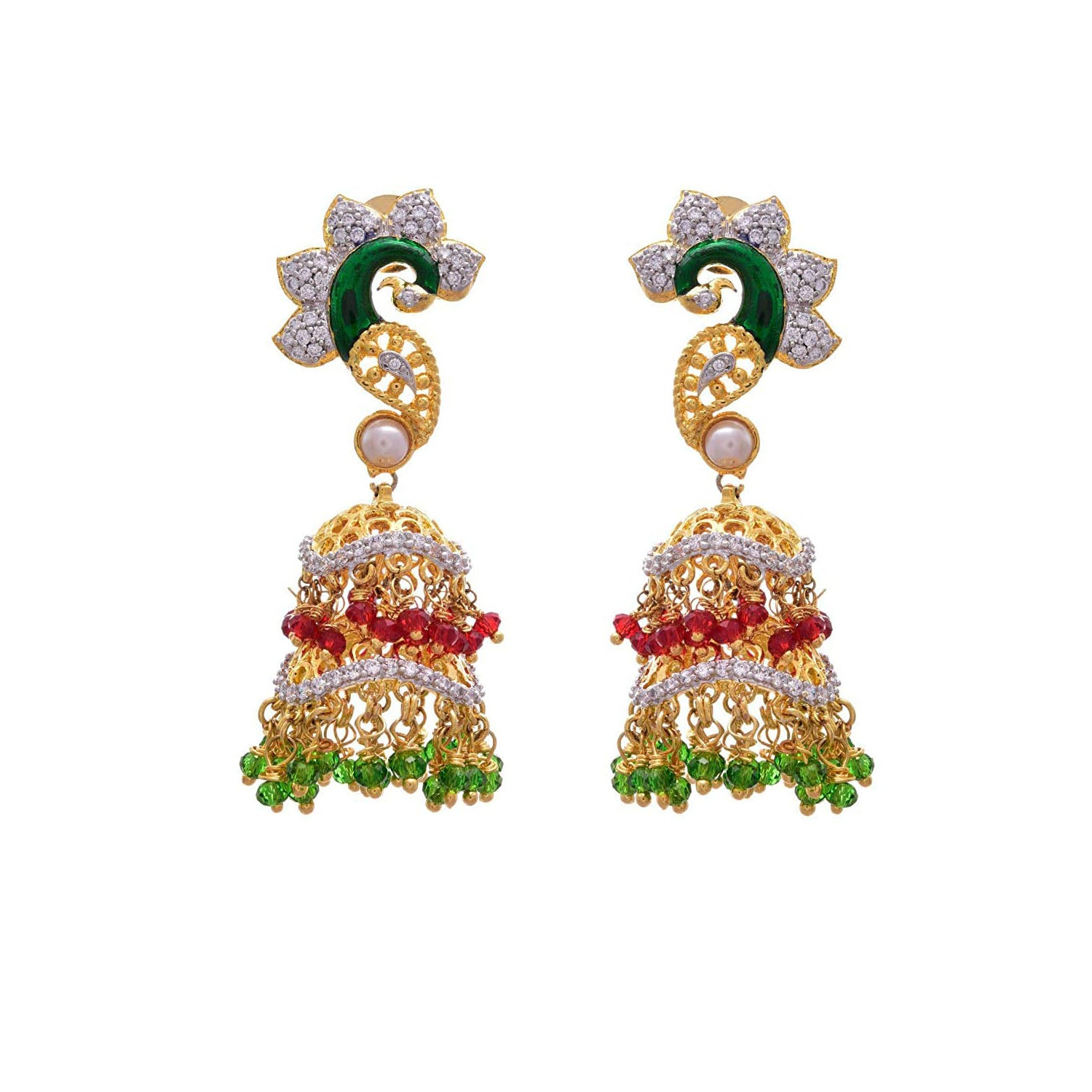 JFL - Breathtakingly Designer Red n Green One Gram Gold Plated Cz Diamond Peacock Earrings for Girl & Women
