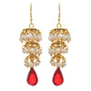 JFL - Traditional Ethnic One Gram Gold Plated White Pearl Designer Earring for Women & Girls