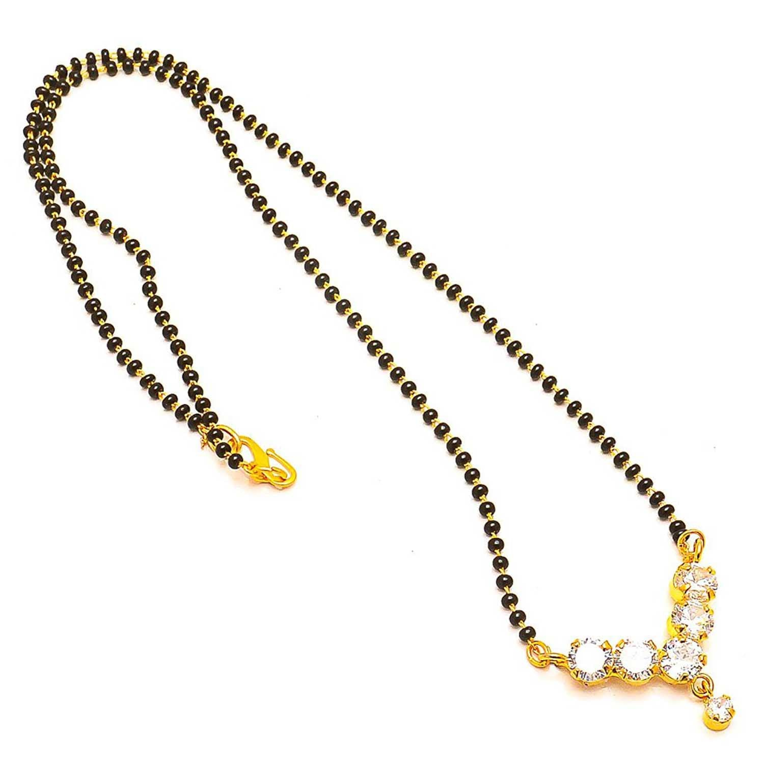 JFL- Stylish American Diamond Studded Black Bead Mangalsutra For Women