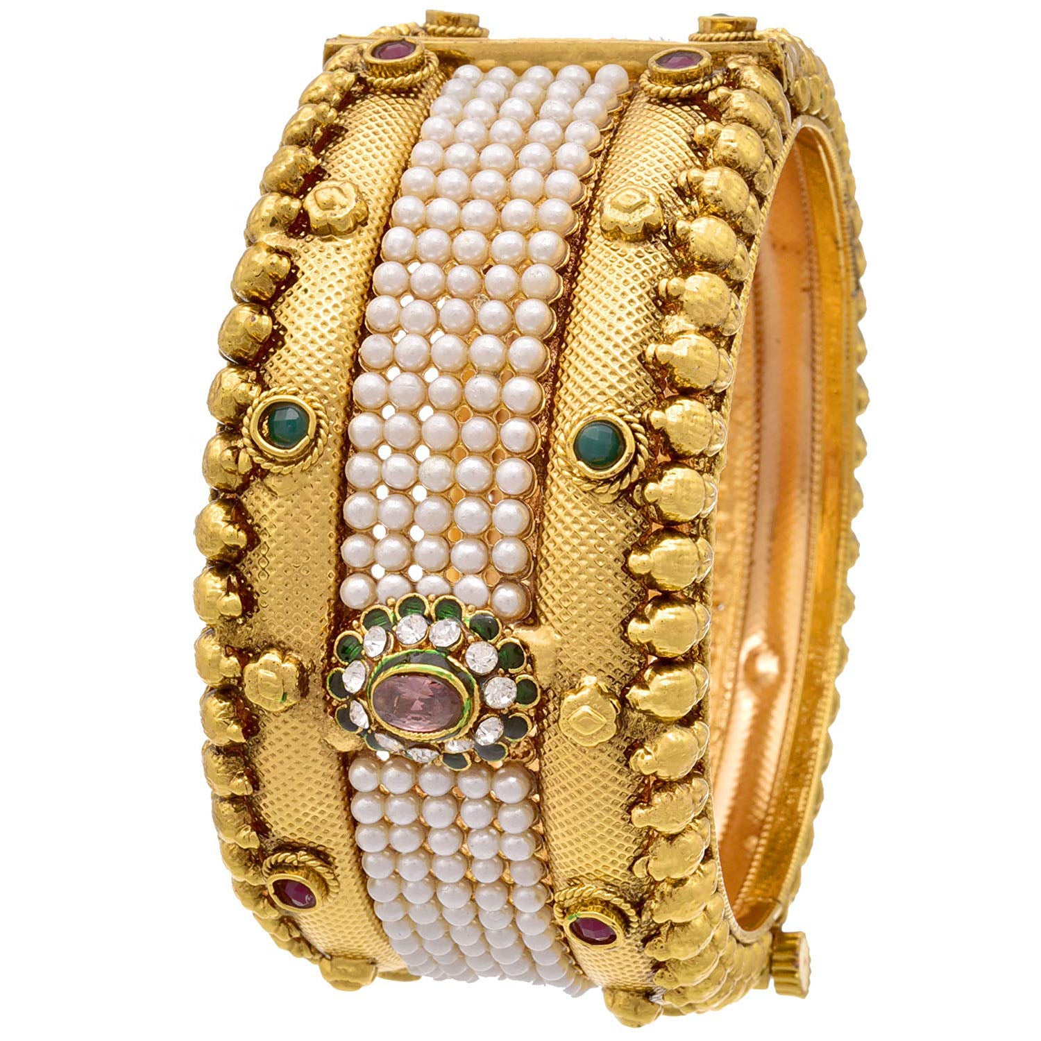 JFL -Traditional & Ethnic One Gram Gold Plated Broad Pearl Red and Green Designer Openable Kada for Girls & Women