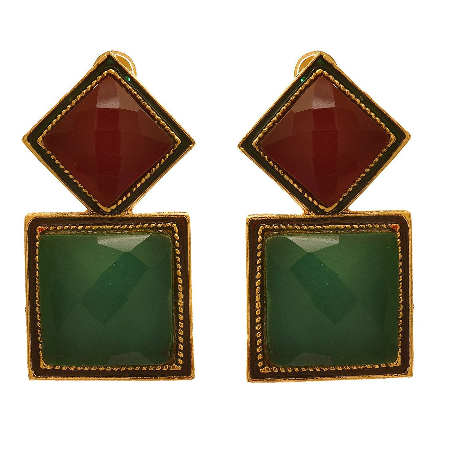 JFL - Traditional Ethnic One Gram Gold Plated Emerald Designer Earring for Girls and Women