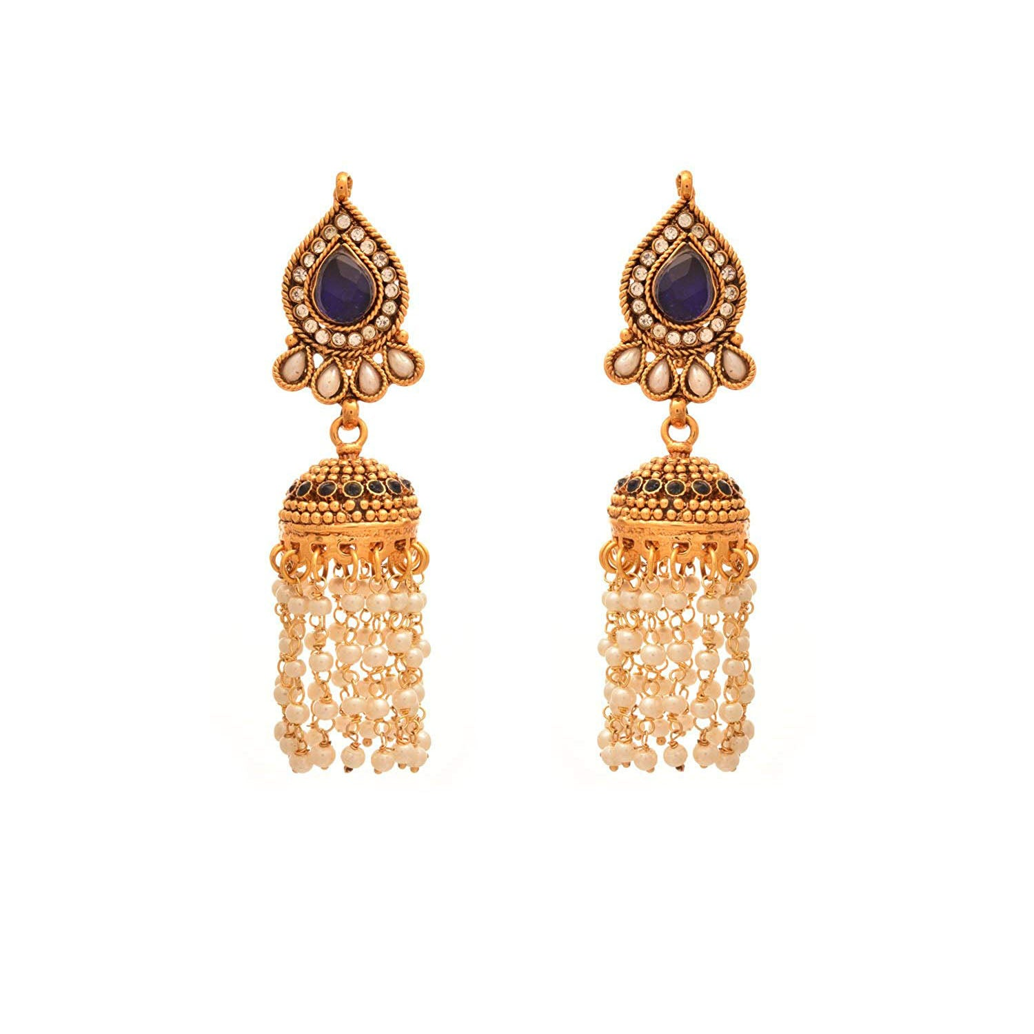 JFL- Traditional Ethnic One Gram Gold Plated Austrian Diamond Pearl Blue Designer Jhumka for Women & Girls