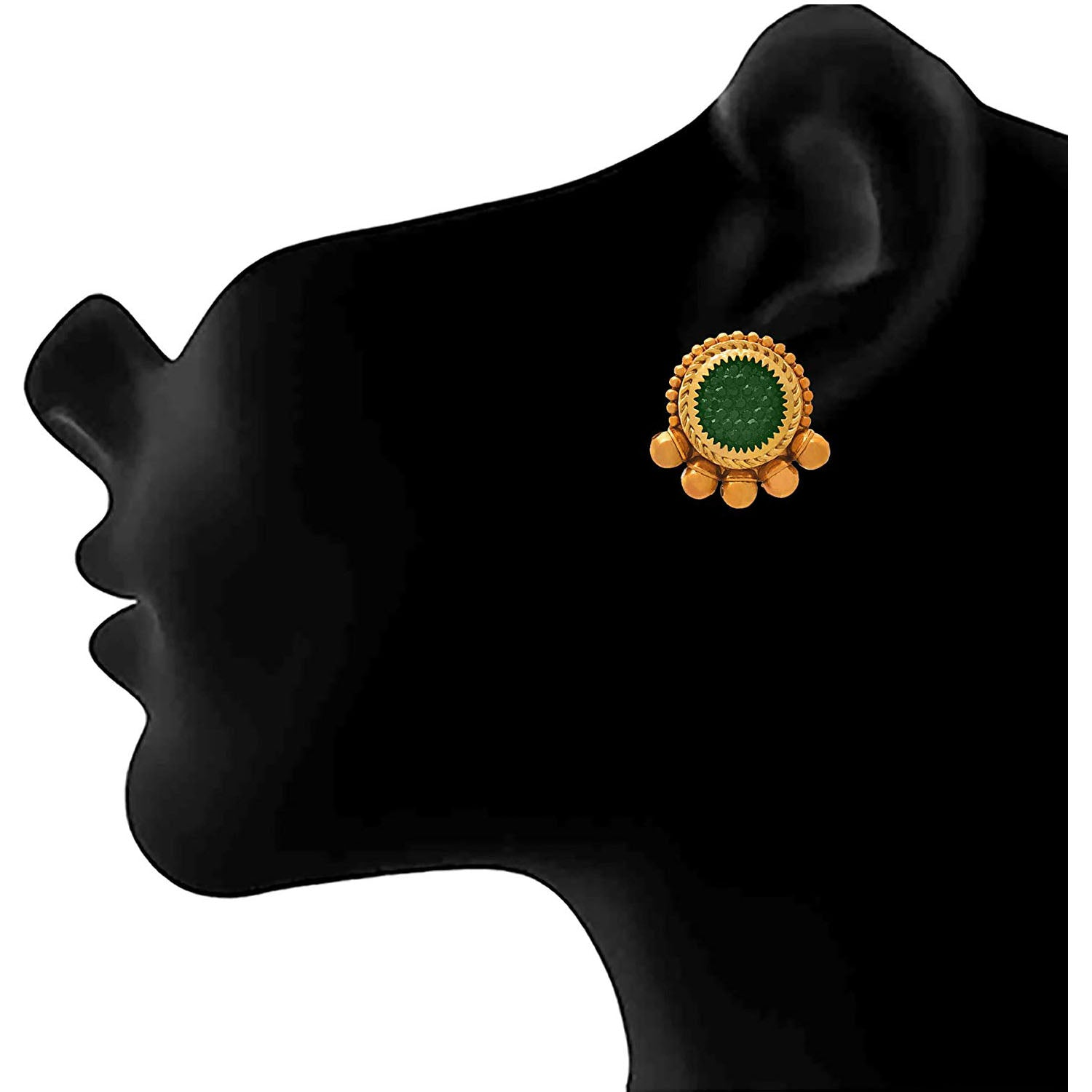 Jewellery for Less Traditional Ethnic One Gram Gold Plated Green Designer Stud Earring for Women