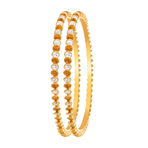 JFL -Traditional Ethnic Fusion One Gram Gold Plated Diamond Designer Bangle Set for Women & Girls