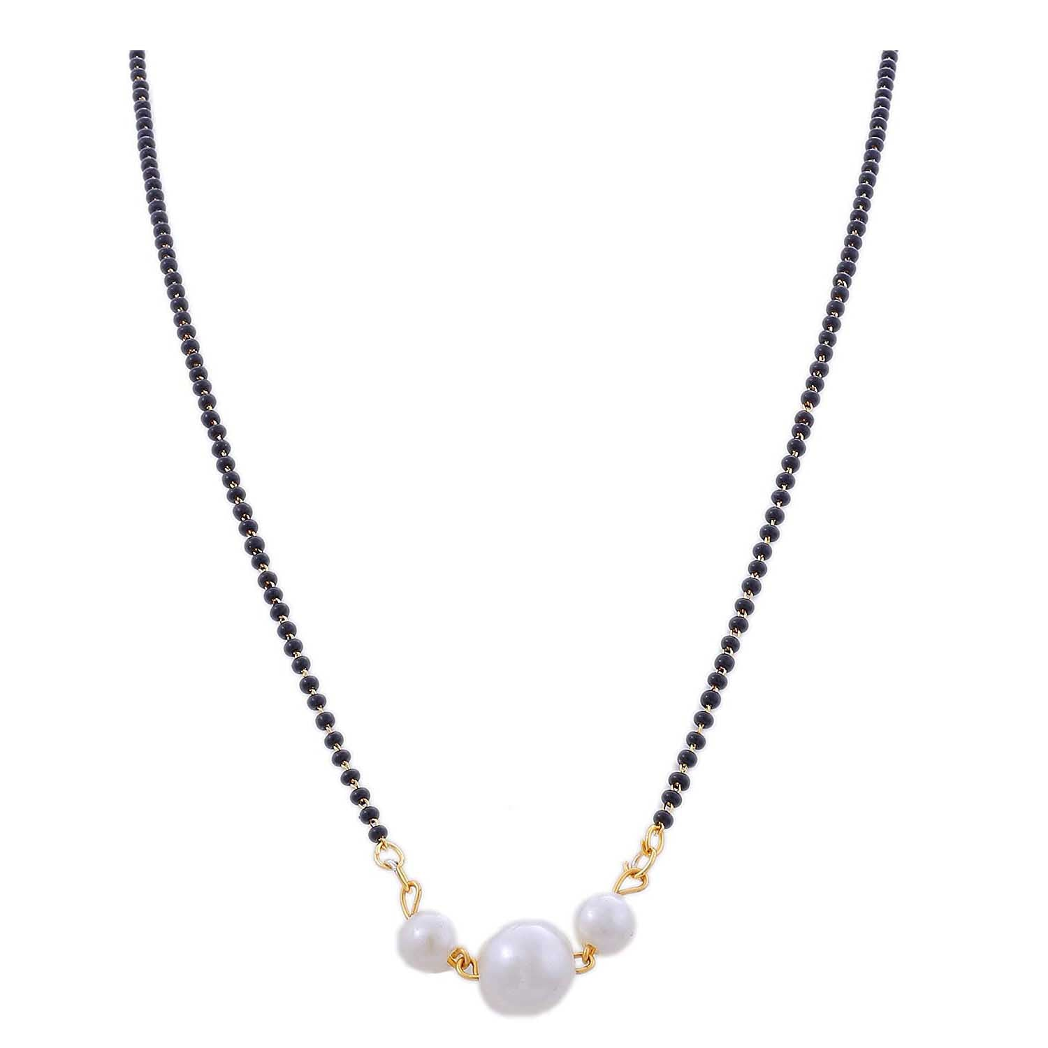 2a78d3b8d3aac JFL-Stylish One Gram Gold Plated Pearl Black Beads Mangalsutra For ...