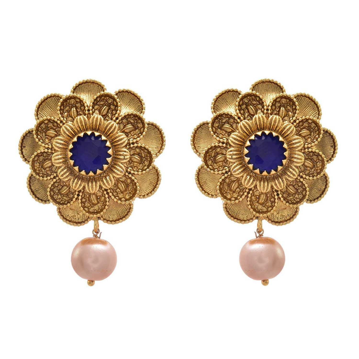 JFL - Traditional Ethnic One Gram Gold Plated Blue Stone Floral Designer Earrings with Pearls Dangler for Girls & Women