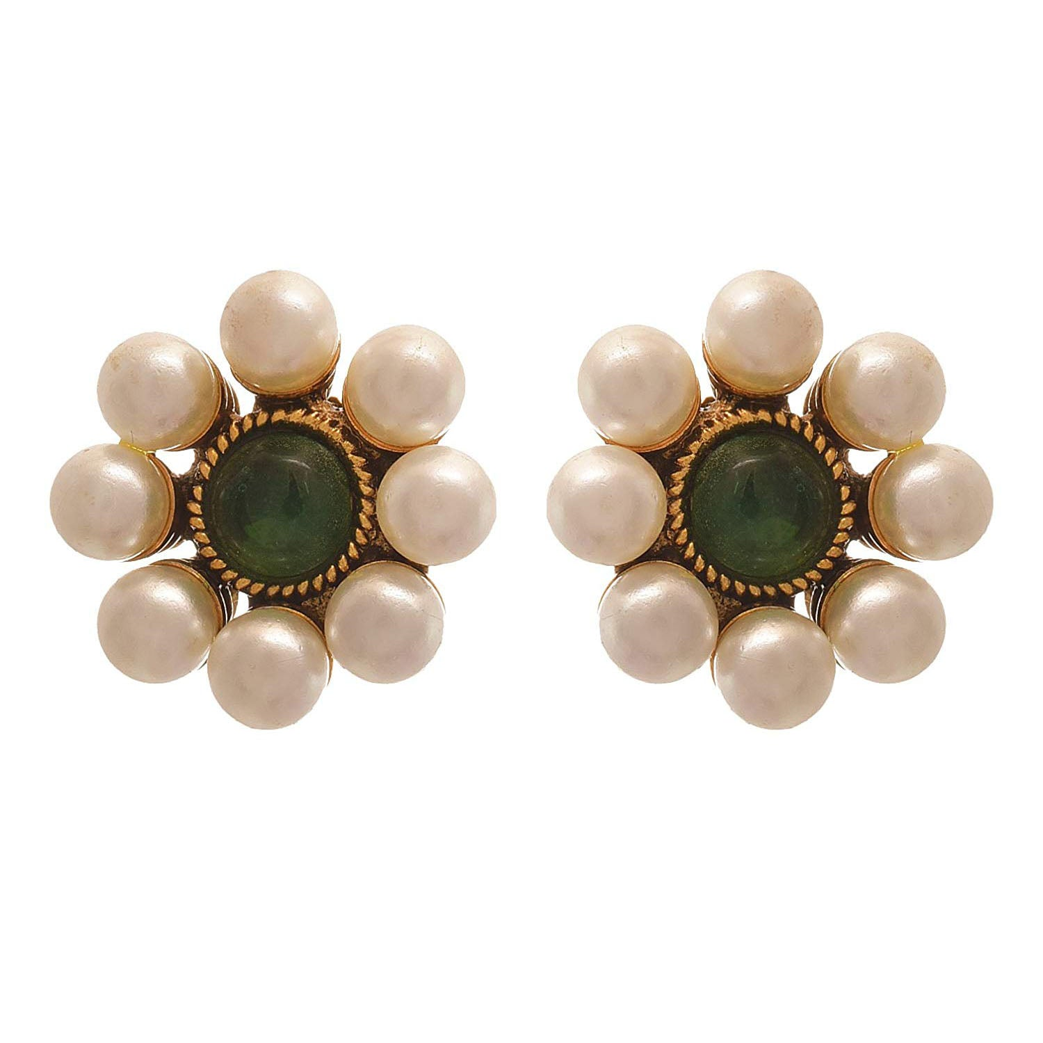 JFL - Jewellery for Less Traditional Ethnic One Gram Gold Plated Stone & Pearls Designer Stud Earring for Women & Girls (Green)