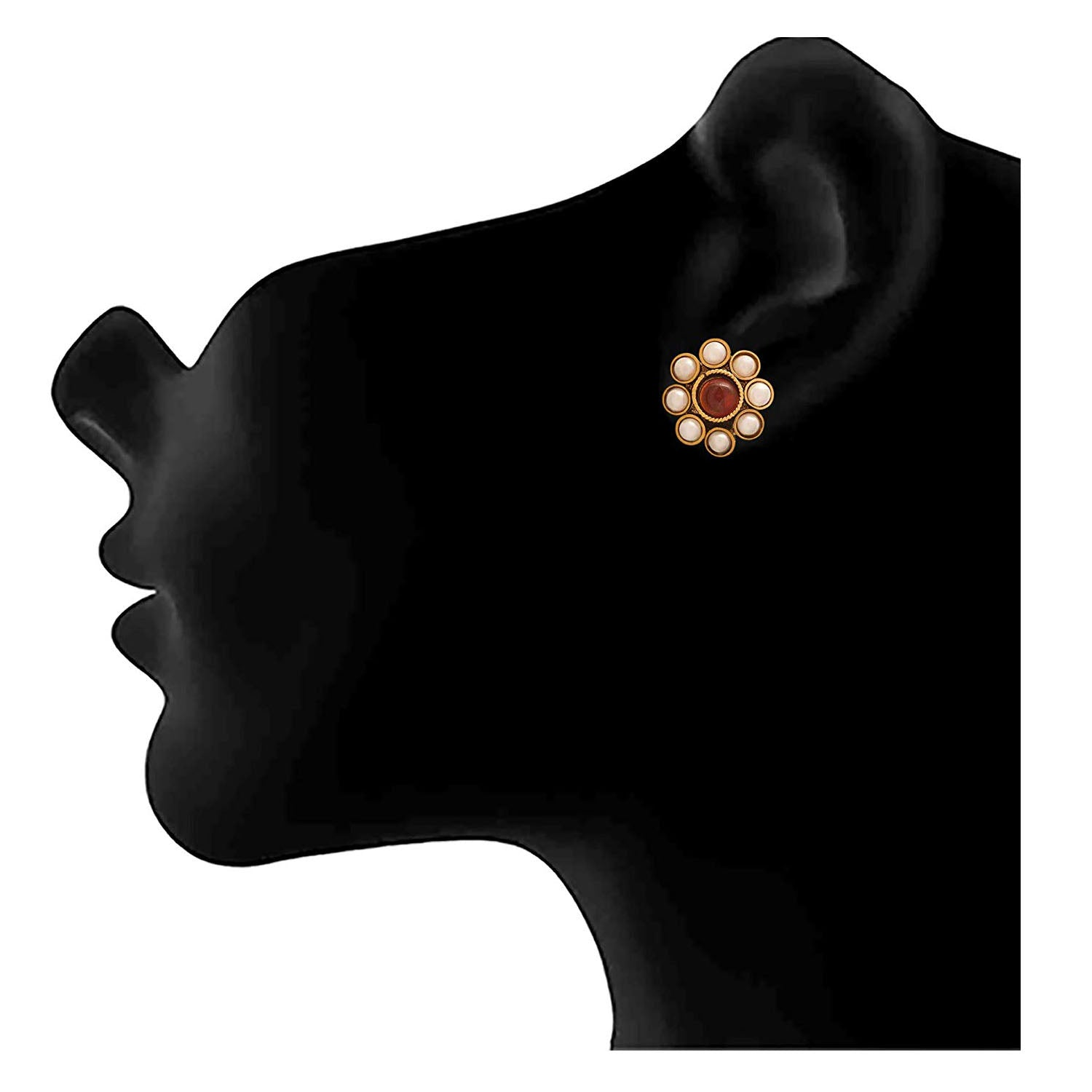 Jewellery for Less Traditional Ethnic One Gram Gold Plated Pearls Designer Stud Earring for Women