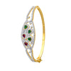 JFL - Traditional Ethnic One Gram Gold Plated Cz American Diamond with Purple & Green Stone Designer Openable Bangle Kada for Women and Girls.
