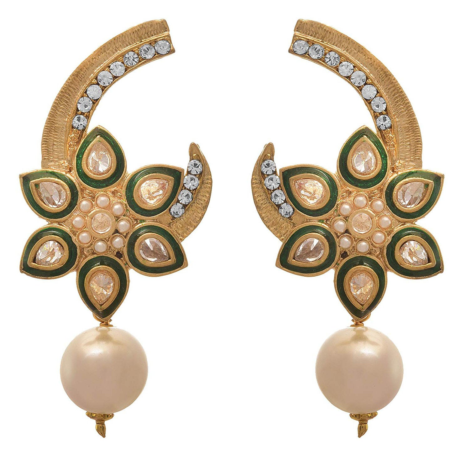JFL - Traditional and Ethnic One Gram Gold Plated Pearl Stone & Diamond Designer Earring for Girls and Women. (Green)