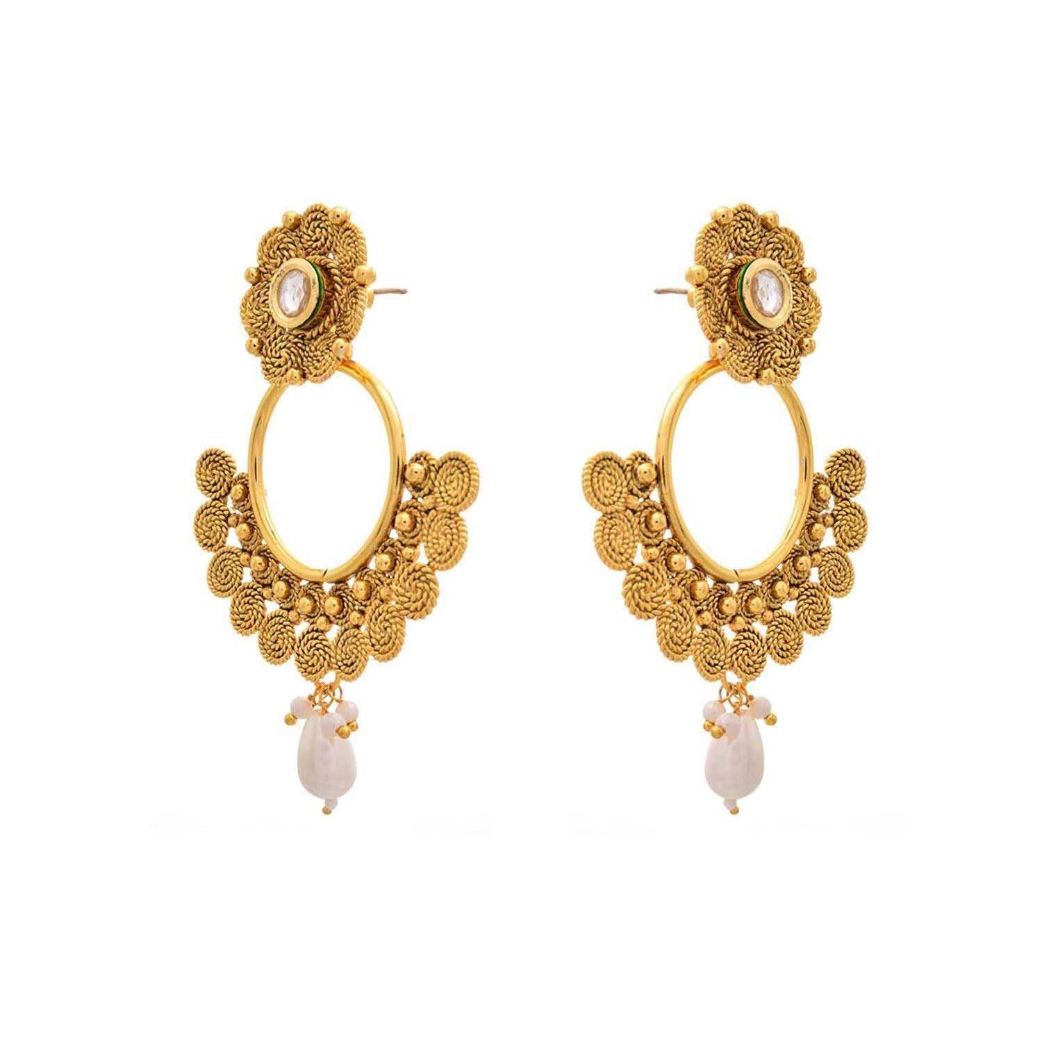 Traditional Ethnic One Grem Gold Plated Spiral Kundan Designer Earring for Women & Girls