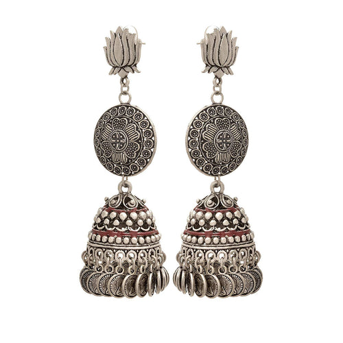 Traditional Ethnic Handmade German Silver Plated Oxidised Lotus With Coin Designer Earring For Women & Girls.