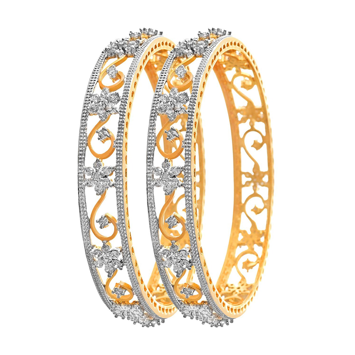 JFL -Traditional Ethnic Fusion Cz American Diamond Floral Flower Designer One Gram Gold Plated Bangles for Women & Girls.