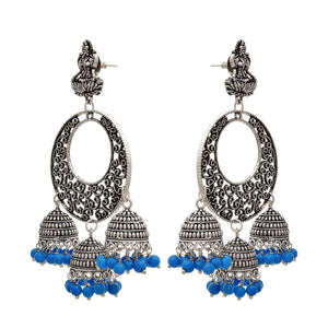 Traditional Ethnic Handmade German Silver Plated Oxidised Goddess Laxmi Designer Earring For Women & Girls.