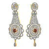 Fusion Ethnic One Gram Gold Plated Cz American Diamond Designer Earring for Women & Girls.