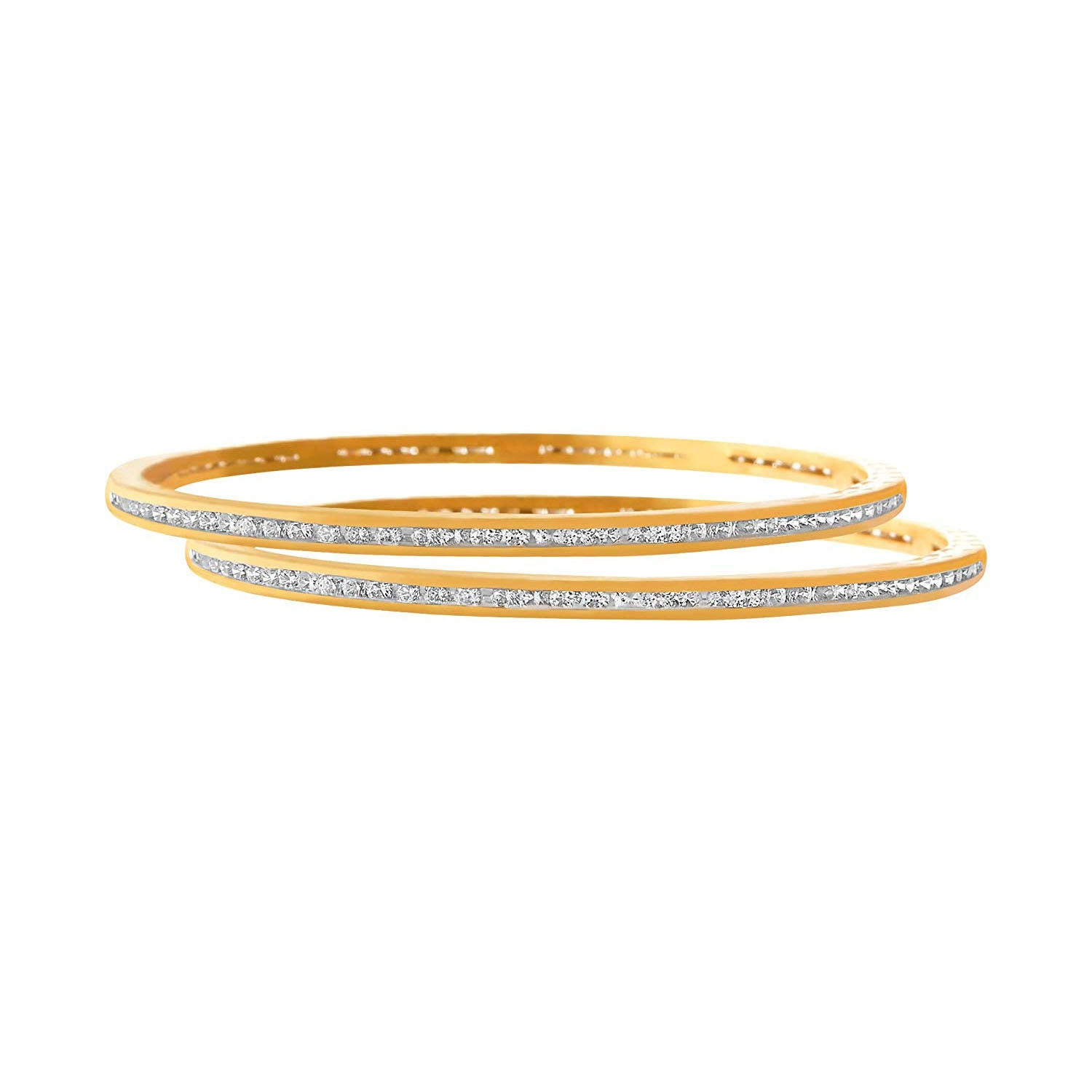 JFL-Traditional Ethnic Fusion Cz American Diamond Designer One Gram Gold Plated Bangle Set S For Women.
