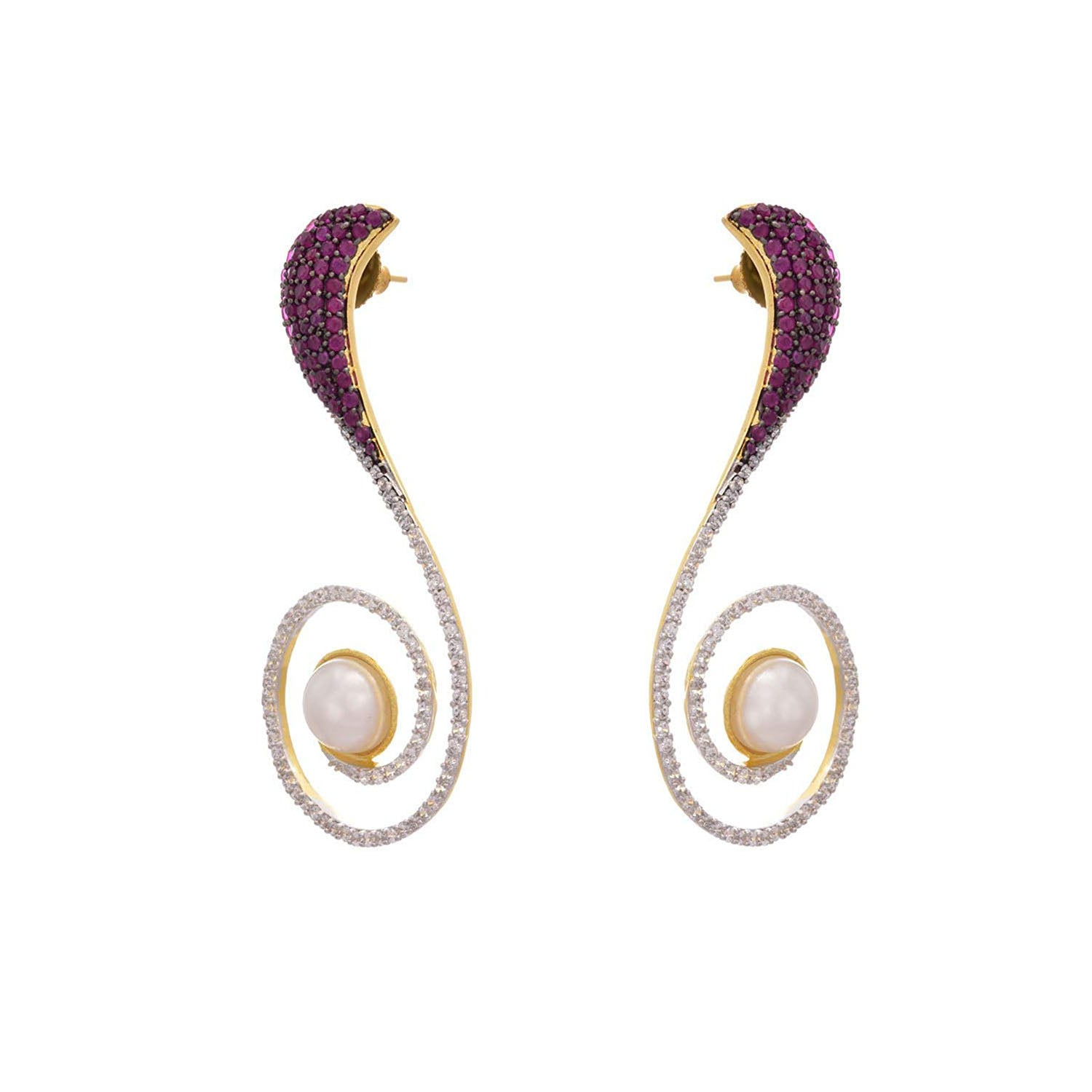 Fusion Ethnic Cz American Diamond Pearls Designer One Gram Gold Plated Purple Earring for Girls & Women