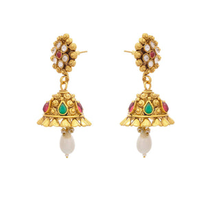 Traditional Ethnic Ruby Red Emerald Green One Gram Gold Plated Designer Jhumka Earrings studded with Austrian Diamonds for Girls & Women.