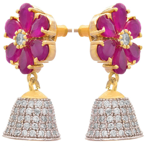 Traditional Ethnic Fusion One Gram Gold Plated Cz American Diamond Jhumka Jhumki Earrings for Women & Girls