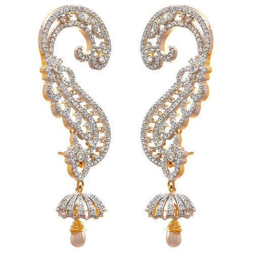 Fusion Ethnic Traditional One Gram Gold Plated White Cz American Diamond Ear Cuff Earrings for Women & Girls.