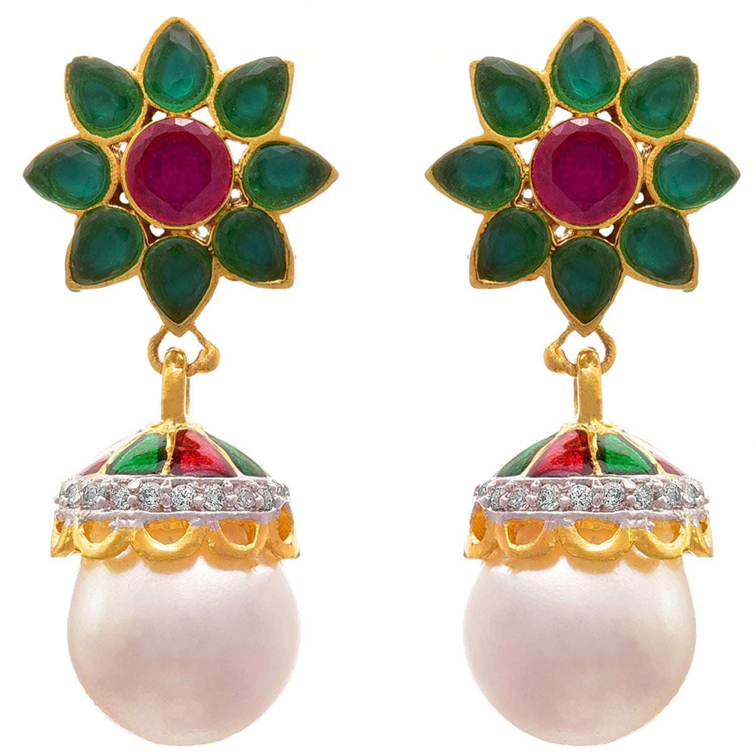 Jewellery for Less Fusion Ethnic One Gram Gold Plated Pink Stone & Cz American Diamond Earring For Women And Girls.